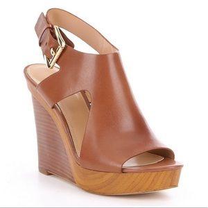 Michael Kors Josephine Leather Peep Toe Wedges 9M